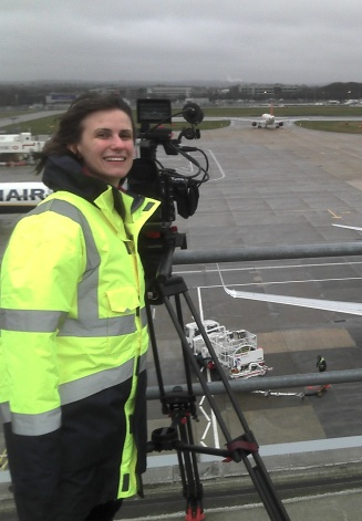 Erica filming at Gatwick airport